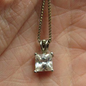"""18"""" Sterling Silver Rustic CZ Diamond Necklace"""